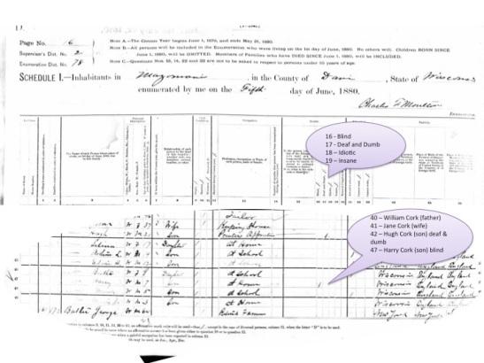 1880 US Census William Cork Family
